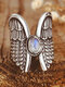 Alloy Vintage Angel Wing Ring Moon Stone Women's Ring Thai Silver Feather Ring - Silver