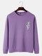 Mens Funny Gesture Chest Print Round Neck Casual Cotton Sweatshirts - Purple