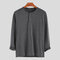 Mens Brief Style Solid Color Breathable Casual Long Sleeve Henley Shirts - Grey