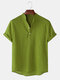 Mens Breathable Flax Stand Collar Short Sleeve Solid Henley Shirt - Army Green