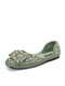 Women Pearl Rhinestone Loafers Shoes Comfy Soft Elegant Ballet Shoes Round Flats - Green
