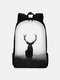 Men Antelope Large Capacity Ancient Style Painting Backpack - Black