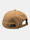 Unisex Cotton Smile Face Pattern Retro Casual Brimless Beanie Landlord Hat Skull Hat - Khaki