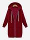 カジュアルな女性の長袖ジッパーフード付きポケットコート - ワインレッド