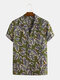 Mens Leaf Printing Breathable Casual Turn Down Collar Short Sleeve Shirts - Green