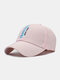Unisex Cotton Solid Color Lattice Patchwork Letter Embroidery Fashion Sunscreen Baseball Caps - Pink