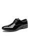 Men Lace-up Pure Color Pointed Toe Business Formal Dress Shoes - Black