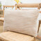 Striped Flannel Rectangular Pillowcase Backrest Cover Cushion Cover Pillowcase - Camel