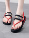Women Clip Toe Various Patterns Embroidered Ethnic Style Flat Sandals - Red & White Stripes-Black Tassel