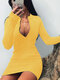 Solid Color Zip Front V-neck Long Sleeve Plus Size Sexy Dress - Yellow