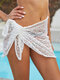 女性の中空パターンネクタイサイドビーチカバーアップスカート水着 - 白い