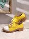 Женщины Tassel Decor Нескользящие повседневные женские туфли Creepers Brogue - Желтый