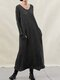 Knit Long Sleeve Plus Size Casual Dress with Pokcets - Black