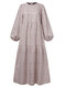 Print O-neck Puff Sleeve Plus Size Casual Dress for Women - Beige