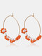 Countryside Little Daisy Colorful Rice Beads Alloy Earrings - Orange