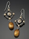 Vintage Pearl Women Necklace Two-Tone Hollow Rhombus Pendant Earrings Jewelry Gift - Earrings
