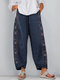 Casual Embroidery Elastic Waist Plus Size Pants with Pockets - Navy