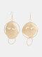 Trendy Face Hollow Earrings Temperament Metal Circle Earrings - Gold