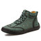 Men Rubber Toe Cap Hand Stitching Microfiber Leather Ankle Boots - Green