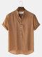 メンズ通気性&薄いコットンスタンド襟カーブヘムソリッドヘンリーシャツ - カーキ