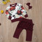 Floral Printed Girls Ruffled Pants Long Sleeve Clothing Sets For 0-3 Years
