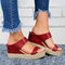 Women Comfy Wearable Casual Espadrille Platform Wedges Slippers - Red