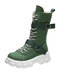 Women Casual Buckle Design Canvas Thick Bottom Shoes Non-slip Soft Mid Calf Boots - Green