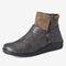 Large Size Women Retro Comfy PU Leather Zipper Flat Short Boots - Grey
