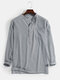 Mens Linen Solid Color 7 Color Casual Long Sleeve Henley Shirts With Pocket - Gray