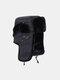 Men Cotton Plush Solid Windproof Thicken Ear Protection Cold-proof Trapper Hat - Black