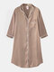 Plus Size Women Ice Silk Chest Pocket 3/4 Sleeve Shirt Cozy Nightdress With Contrast Binding - Champagne