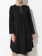 Solid Color Button Front Long Sleeve Maxi Blouse For Women - Black