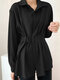 Women Solid Color Long Sleeve Loose Casual Blouse With Belt - Black