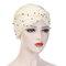 Womens Vintage Tie Bead Beanie Cap Casual Milk Silk Soft Solid Bonnet Hat Headpiece - Beige