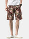 Mens Ethnic Style Floral Print Breathable Light Casual Drawstring Shorts - #01