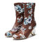 Women Comfy Stylish Embroidered Flowers Cloth Elastic Slip On Chunky Heel Short Boots - Brown