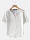 Plus Size Mens Striped V-Neck Short Sleeve Fashion T-Shirt - White