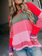 Contrast Color V-neck Long Sleeve Casual Sweater For Women - Red