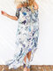 Off-shoulder Floral Leopard Print Maxi Dress For Women