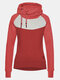 Contrast Color Long Sleeves Drawstring Patchwork Hoodies For Women - Red