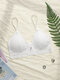 Women Floral Lace Insert Pad Front Closure Thin Triangle Bra - White