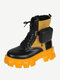 Women's Round Toes Patchwork Color Large Size Lace Up Front Platform Boots - Yellow