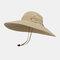 Hat Men's Sun Hat Outdoor Summer Big Along The Sun Hat Leisure Fisherman Hat Men Mountaineering Fishing Sun Hat - Khaki