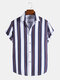 Mens Plain Striped Button Up Casual Short Sleeve Shirts - White
