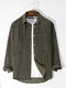 Mens Corduroy Solid Button Basics Long Sleeve Shirts With Pocket - Army Green