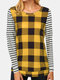 Plaid Striped Print Patchwork Long Sleeve Casual T-shirt for Women - Yellow