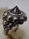 Vintage Skull Men Ring Punk Inlaid Satellite Gem Women Ring - Black Gem + Silver