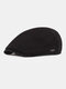 Men Ear Protection Winter Outdoor Solid Color Casual Universal Plus Thicken Beret Hat Flat Cap - Black