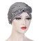 Womens Vintage Tie Bead Beanie Cap Casual Milk Silk Soft Solid Bonnet Hat Headpiece - Gray
