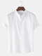 Mens Breathable Flax Stand Collar Solid Color Short Sleeve Shirt - White